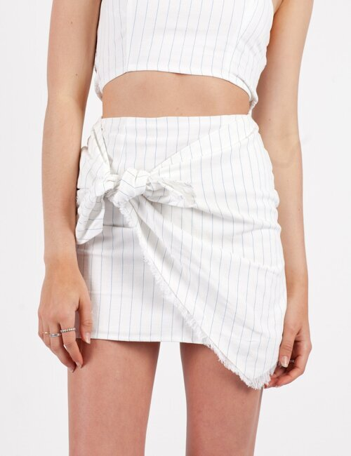 Fair Play White Stripe Skirt