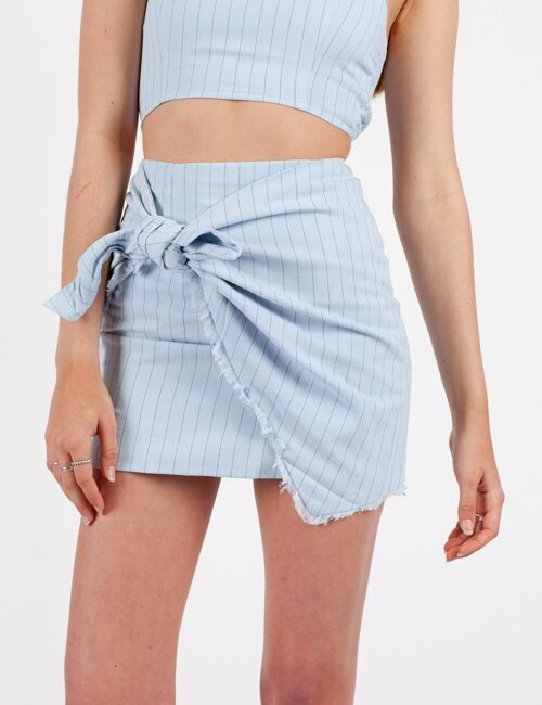 Fair Play Blue Stripe Skirt