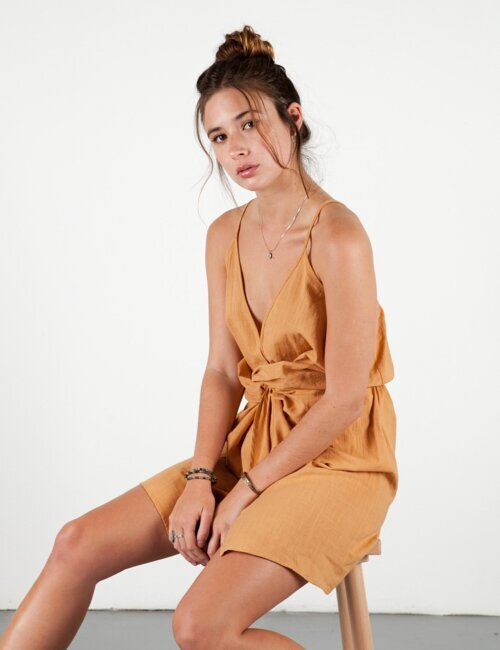 Bella Orange Knotted Dress