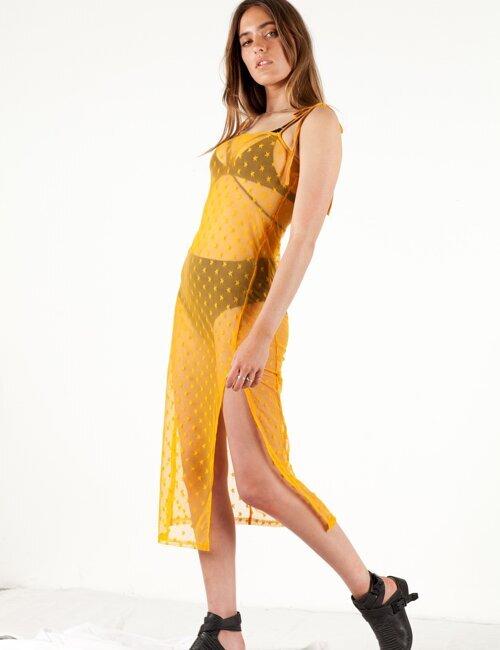 Balmy Nights Yellow Sheer Dress