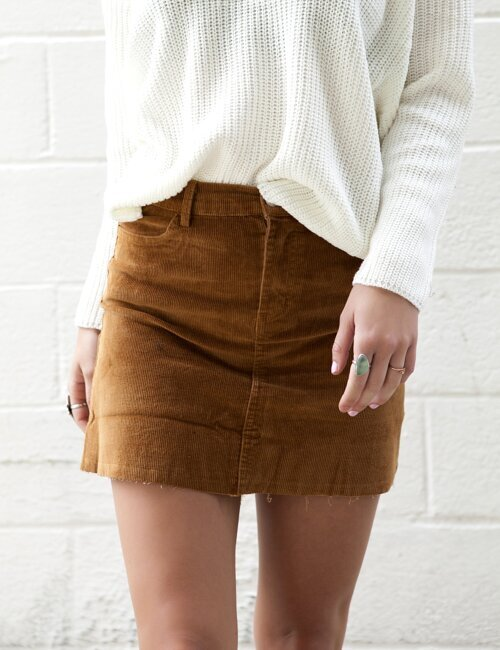Show Me Love Camel Corduroy Skirt