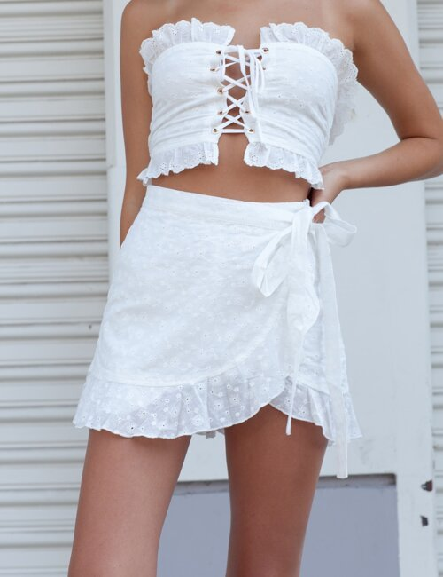 Only Angel White Lace Skort
