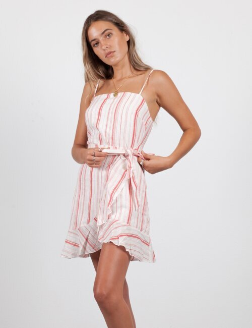 Vacation Style Pink Stripe Dress