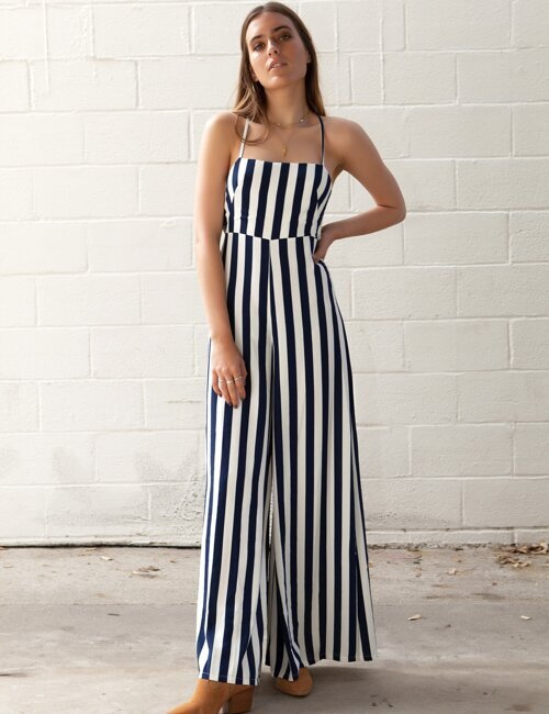 Balboa Navy Blue and White Striped Jumpsuit