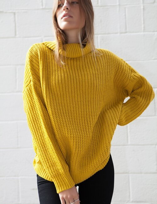 Chill Out Mustard Turtleneck