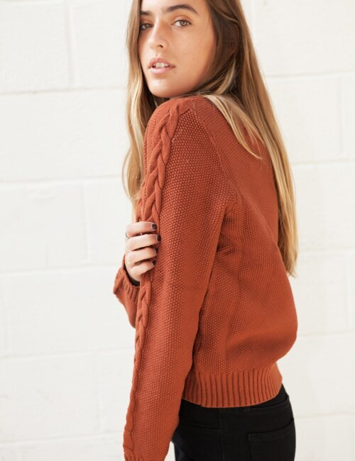 Stay Awhile Rust Sweater