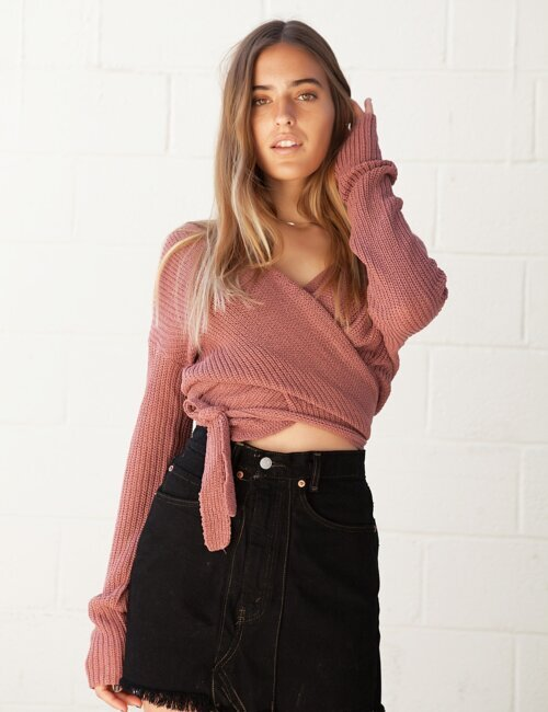 Peri Pink Wrap Sweater
