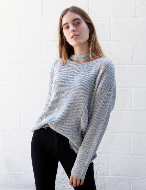 Kyla Grey Knit Sweater