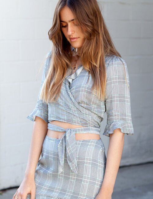 Urban Plaid Grey Top
