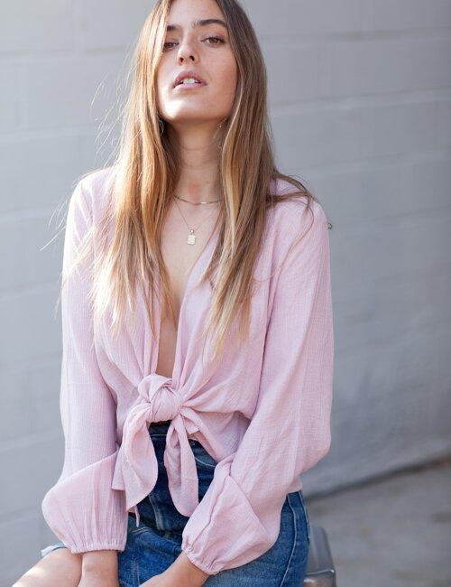 Kayla Pink Tie Top