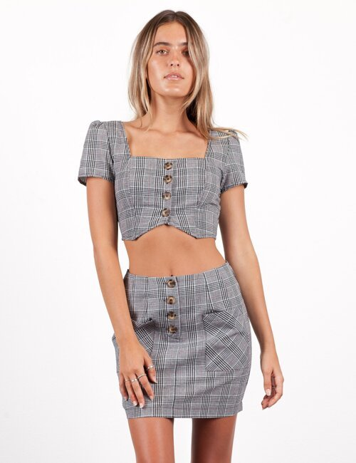 East Village Grey Plaid Top