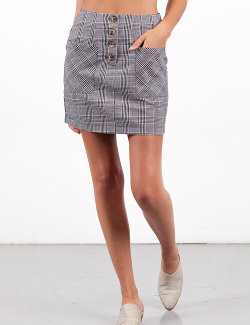 East Village Grey Plaid Skirt