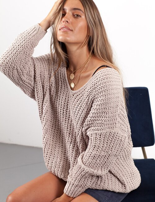 Real Connection Tan Knit Sweater
