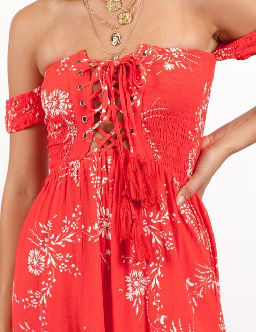 Monaco Red Floral Jumpsuit