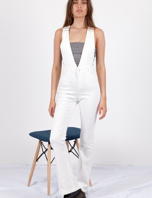 1975 White Denim Jumpsuit