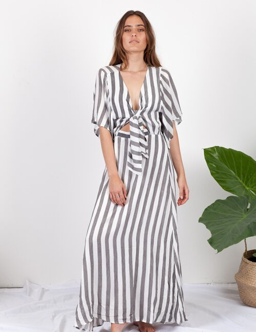 Milan Grey + White Striped Maxi Dress