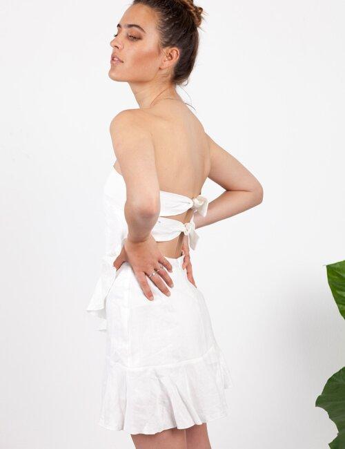 L'amour White Ruffle Dress