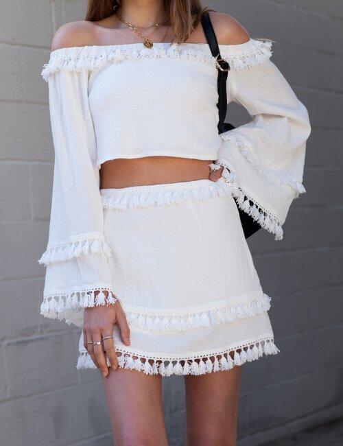 Oasis White Skirt