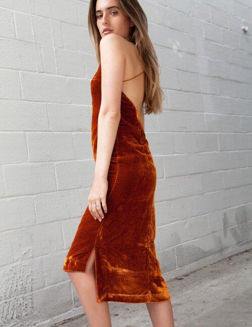 Rosa Orange Velvet Dress