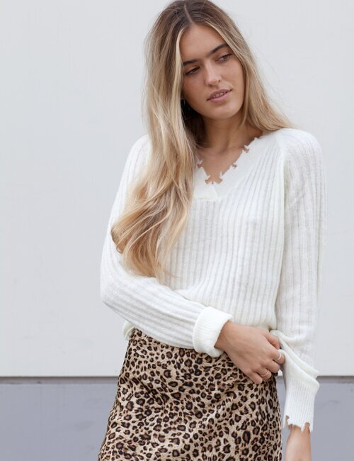 Ryder Ivory Distressed Sweater
