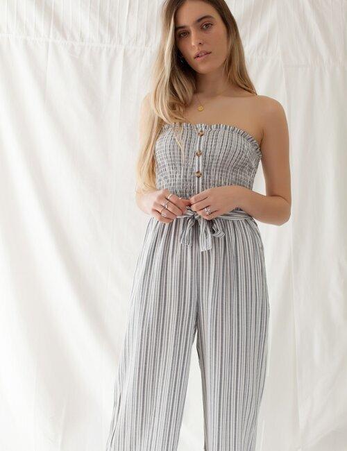 Ocean Avenue Grey Striped Jumpsuit