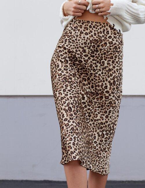 Manhattan Tan Leopard Midi Skirt