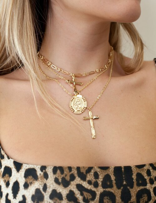 Cross Layered Gold Necklace