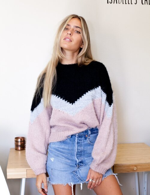 Chevron Pink Color Block Sweater