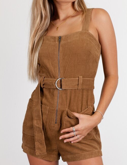 One For The Road Tan Romper