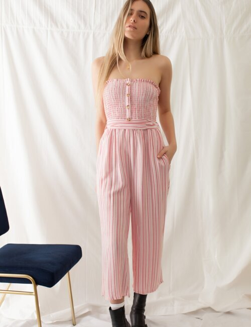 Ocean Avenue Red Striped Jumpsuit