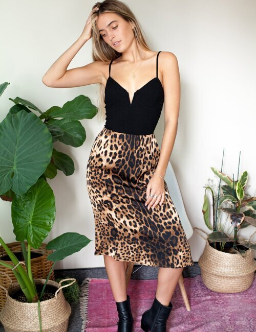 Molly Cheetah Satin Midi Skirt