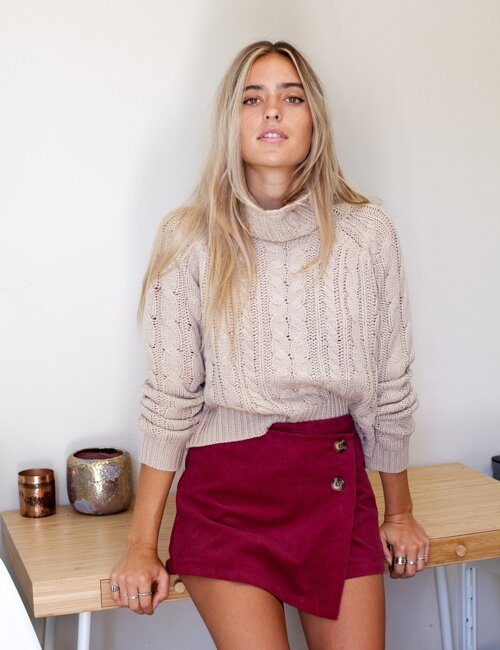 Sweet Caroline Natural Knit Turtleneck