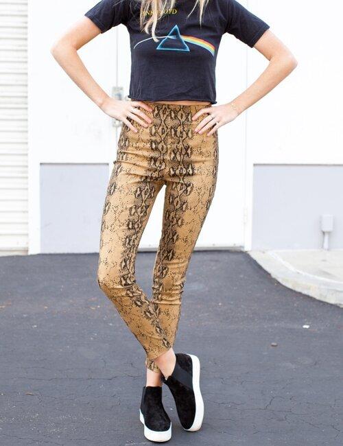 Run Brown Snake Printed Skinny Jeans