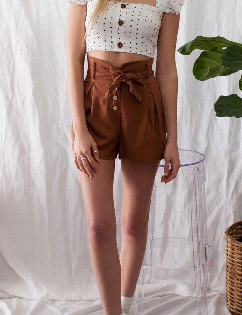 Astrid Rust High Waisted Shorts