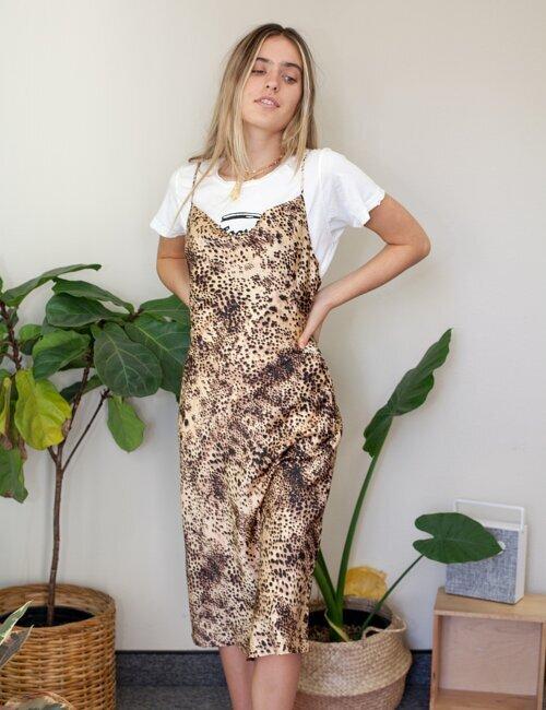 Misty Tan Cheetah Midi Dress