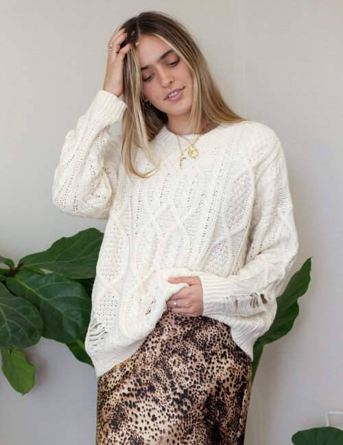 Bailey Ivory Distressed Sweater