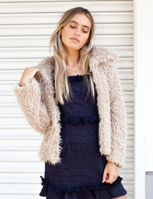 Kelsea Tan Fur Coat
