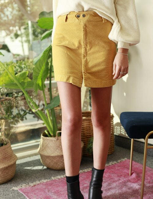 Laguna Yellow Corduroy Skirt