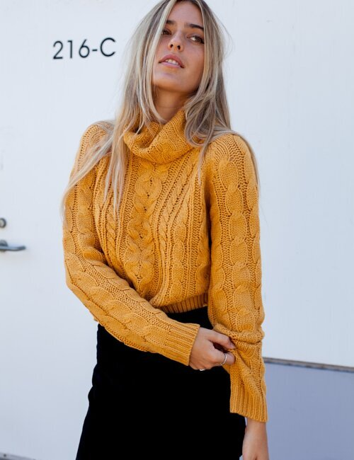 Sweet Caroline Mustard Knit Turtleneck