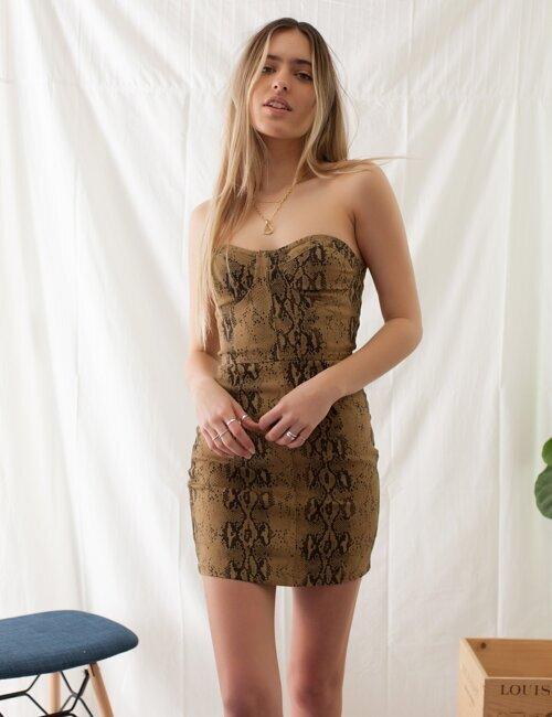 Wild Nights Snakeskin Dress