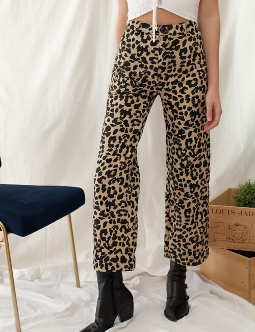 Talia Tan Cheetah Denim Pants