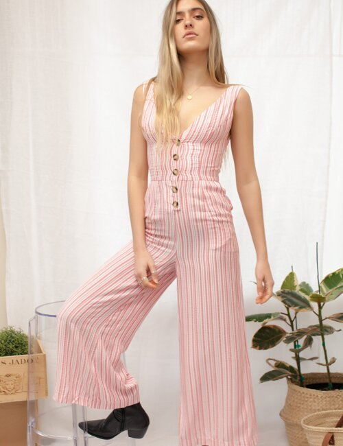 Diana Pink Striped Jumpsuit