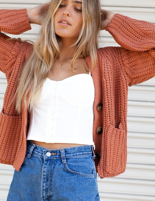 Jenny Rust Cropped Cardigan