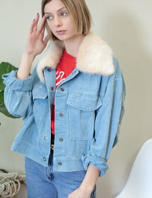 Avec  Corduroy Blue Fur Collar Jacket