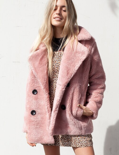 Portland Pink Fur Peacoat