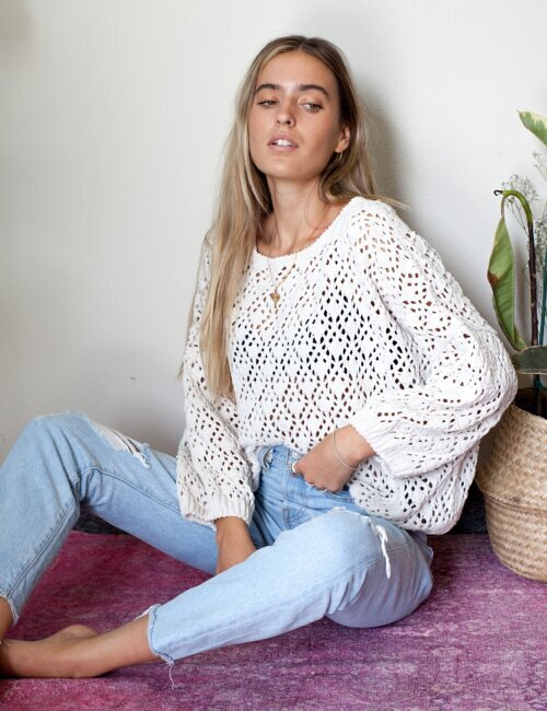 Fleetwood Almond Crochet Knit Sweater
