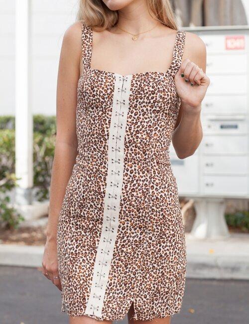 Slow Down Love Leopard Front Hook Dress