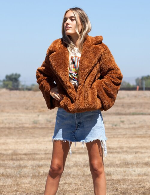 Lennon Brick Faux Fur Coat