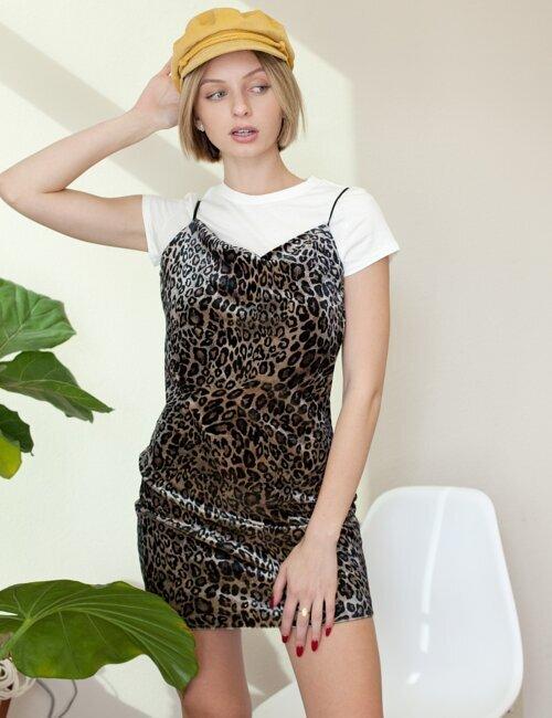 Natasha Grey Velvet Leopard Dress