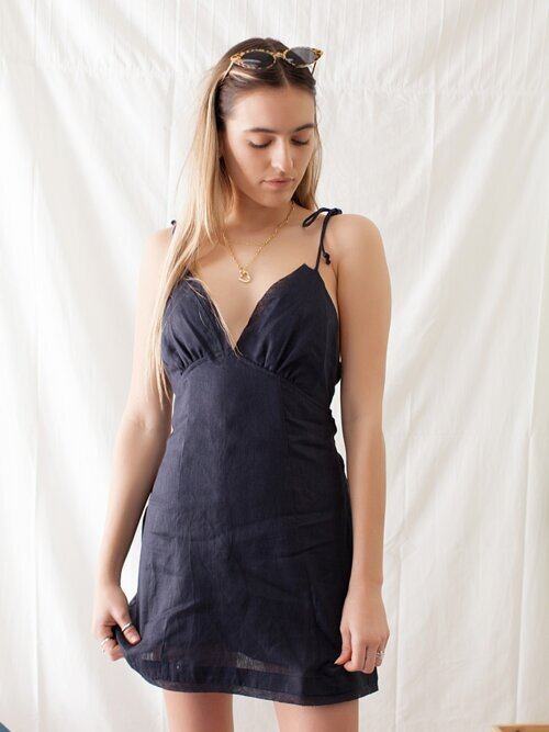 Bonjour Baby Navy Linen Dress